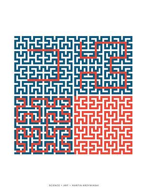 Fractal Geometry Digital Art - Hilbert Curves Of Order 1 To 5 by Martin Krzywinski
