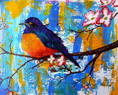 Starlings Painting - Hildebrandt's Starling Perched On Pink Dogwood by J Travis Duncan