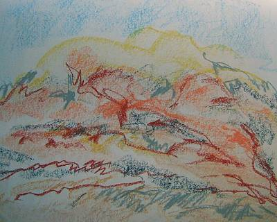 Drawing - Hill At The Dead Sea by Esther Newman-Cohen