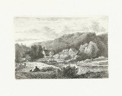 Waterscape Drawing - Hill Landscape With Church And Houses, Print Maker Pieter by Pieter Casper Christ