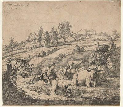 Herding Dog Drawing - Hill Landscape With Shepherd Dog Near A Resting Flock by Karel Dujardin