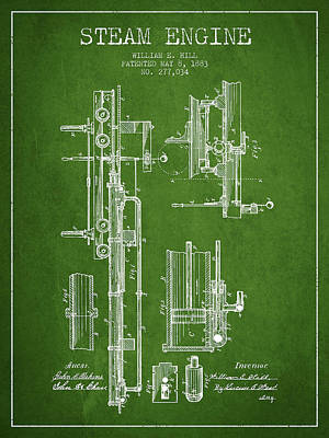 Hill Steam Engine Patent Drawing From 1883- Green Art Print