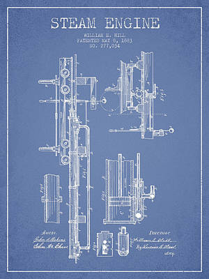 Hill Steam Engine Patent Drawing From 1883- Light Blue Art Print