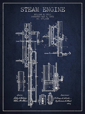Steam Engine Digital Art - Hill Steam Engine Patent Drawing From 1883- Navy Blue by Aged Pixel