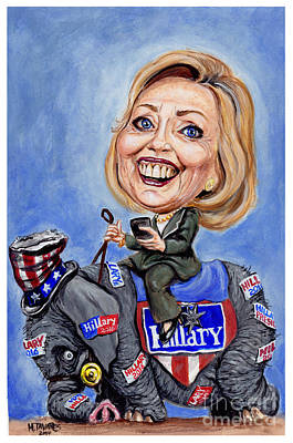 Painting - Hillary Clinton 2016 by Mark Tavares