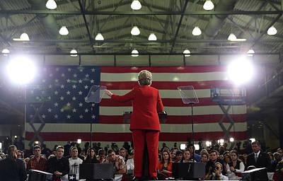 Ohio Photograph - Hillary Clinton Campaigns In Ohio Ahead by Justin Sullivan