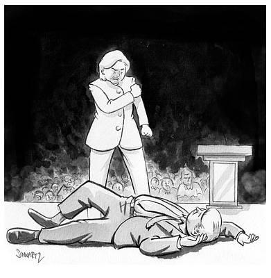 Hillary Clinton Drawing - Hillary Clinton Knocks Out Donald Trump by Benjamin Schwartz