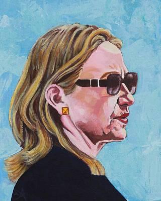 Hillary Rodham Clinton Portrait Behind Shades Art Print by Elizabeth Barretta