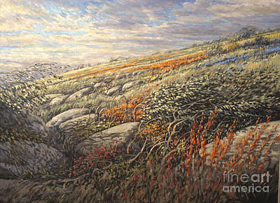 Contemporain Art Painting - Hills Flowers by Pierre Morin