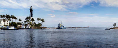Hillsboro Inlet Lighthouse Panorama Art Print by Lynn Palmer