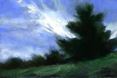 Mountain Scenery Wall Art - Painting - Hillside Breeze by Jim Gola