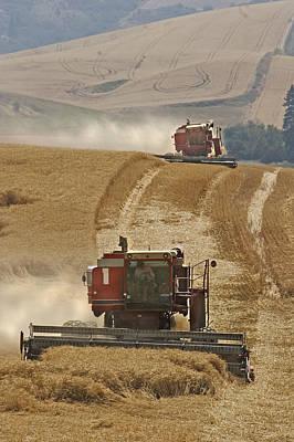 Contour Farming Photograph - Hillside Combines by Latah Trail Foundation