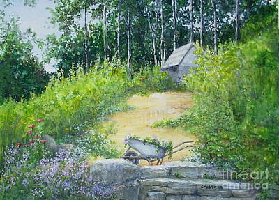 Painting - Hillside Garden by Elizabeth Crabtree