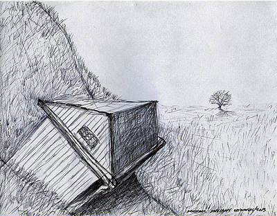 Drawing - Hillside House by Michael Anthony Edwards