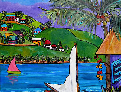 Caribbean House Painting - Hillside On The Island by Patti Schermerhorn