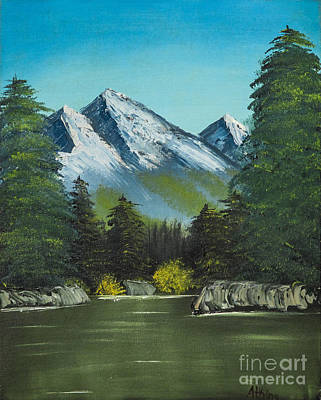 Bob Ross Painting - Hillside Pond by Dave Atkins