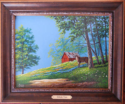 Old Barn Painting - Hillside View by Gary Adams