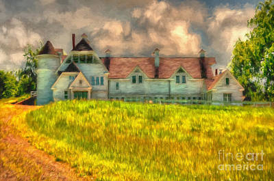 Old Country Roads Digital Art - Hilltop Farm by Lois Bryan