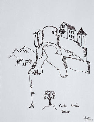 Hilltop Fortress Of Corte, Corsica Art Print