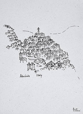 Pen And Ink Drawing Photograph - Hilltop Town Of Abricale, Italy by Richard Lawrence
