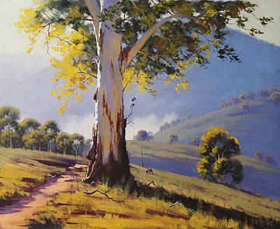 Impressionism Paintings - Hilly Australian Landscape by Graham Gercken