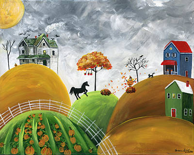 Brianna Painting - Hilly Halloween by Brianna Mulvale