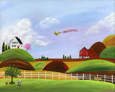 Brianna Painting - Hilly Harvest by Brianna Mulvale