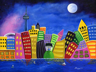 Hilly Meets High-rise Harbour Art Print