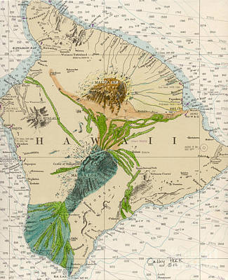 Lava Flow Painting - Hilo Hawaii Mermaid Nautical Chart Art Peek by Cathy Peek