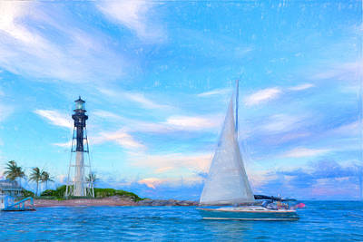 Hilsboro Lighthouse Colored Pencil Art Print by Michael  Wolf