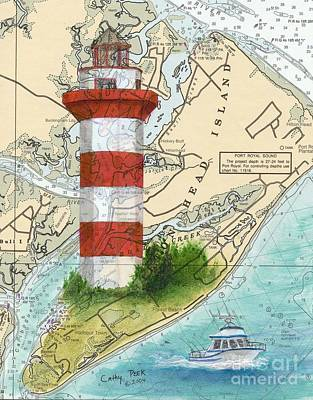Hilton Head Island Lighthouse Sc Nautical Chart Map Art Cathy Peek Art Print by Cathy Peek