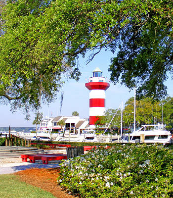 Hilton Head Lighthouse And Marina Art Print