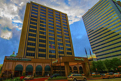 Photograph - Hilton Hotel Indianapolis Indiana Painted Digitally by David Haskett