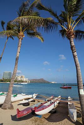 Canoe Photograph - Hilton Lagoon, Waikiki, Honolulu, Oahu by Douglas Peebles