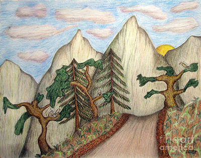 Drawing - Himalaya Dharamkot Path by Elizabeth Stedman