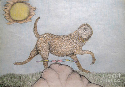 Meditative Drawing - Himalaya Monkey Dragonfly Encounter by Elizabeth Stedman