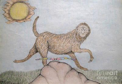 Himalaya Monkey Dragonfly Encounter Art Print