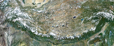 Afghanistan Photograph - Himalaya Mountains Asia True Colour Satellite Image  by Anonymous