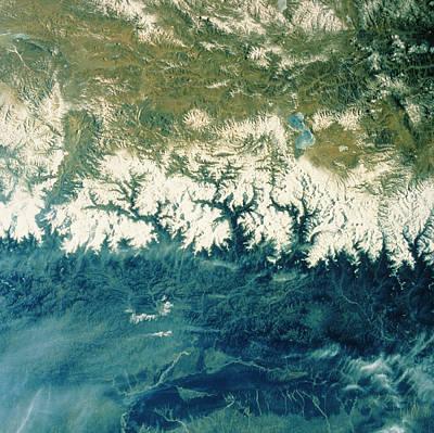 Himalayan Wall Art - Photograph - Himalayan Mountains From Space by Nasa/science Photo Library