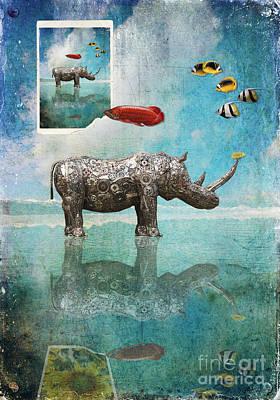 Digital Art - Himalayan Rhino by Nola Lee Kelsey