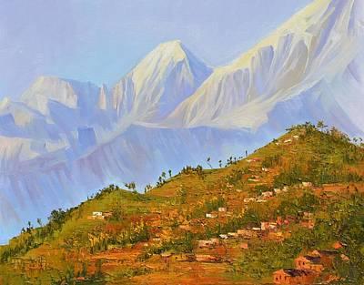 Himalaya Painting - Himalayan View From Nagarkot by Yinguo Huang