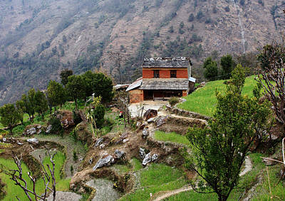 Abstract Airplane Art - Himalayan Village by Aidan Moran