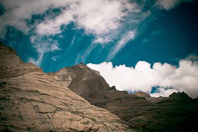 Himalyas Mountains In Tibet With Clouds Art Print by Raimond Klavins