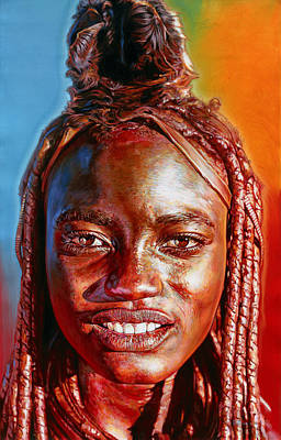 Acrylic Necklace Painting - Himba Super Model by Stephen Bennett
