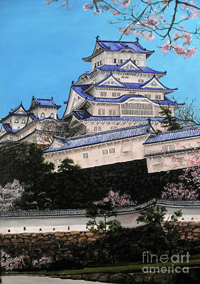 Cherry Blossoms Painting - Himeji Castle by D L Gerring