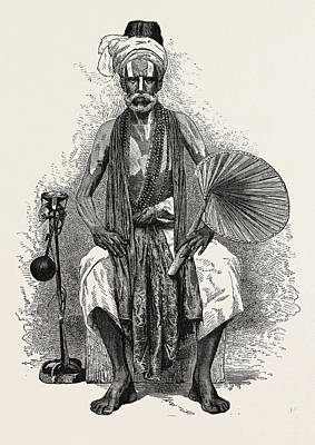 Religious Art Drawing - Hindoo Religious Mendicant, India.  The Term Mendicant by English School