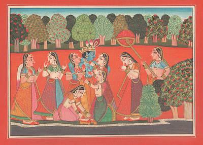 Mahabharata Painting - Hindu God Krishna Lila Gopi Divine Love Miniature Painting India Artwork Art Gallery  by A K Mundhra