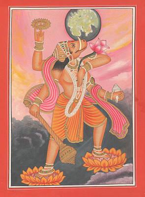 Dashavatara Painting - Hindu God Varaha Dashavatara Vishnu Hinduism Veda Vedic Artwork Painting by A K Mundhra