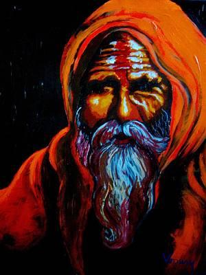 Painting - Hindu Holy Man by Vedran V Pasalic