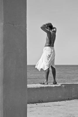 Arabian Attire Photograph - Hindu Priest Homage To Sun And Arabian by Kantilal Patel